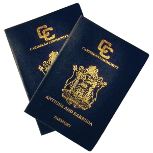 two antigua and barbuda passports overlapping each other